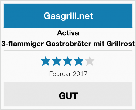 Activa 3-flammiger Gastrobräter mit Grillrost Test