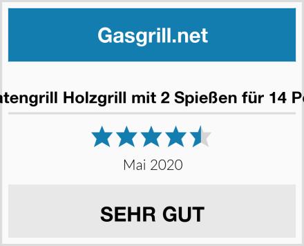Mutzbratengrill Holzgrill mit 2 Spießen für 14 Portionen Test